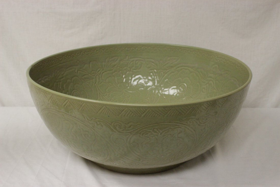 A massive Chinese celadon porcelain bowl