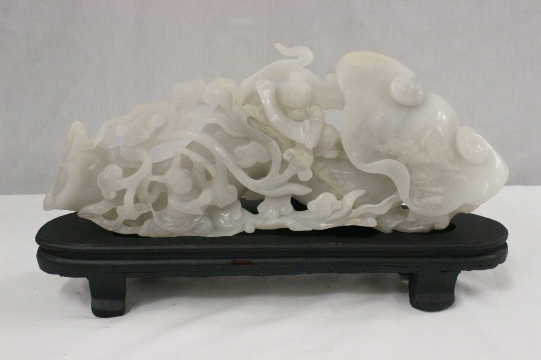 A large Chinese white jade carved lingzhi