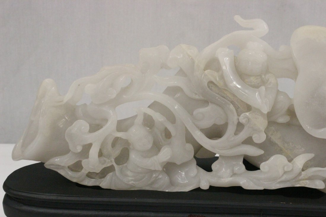 A large Chinese white jade carved lingzhi - 2