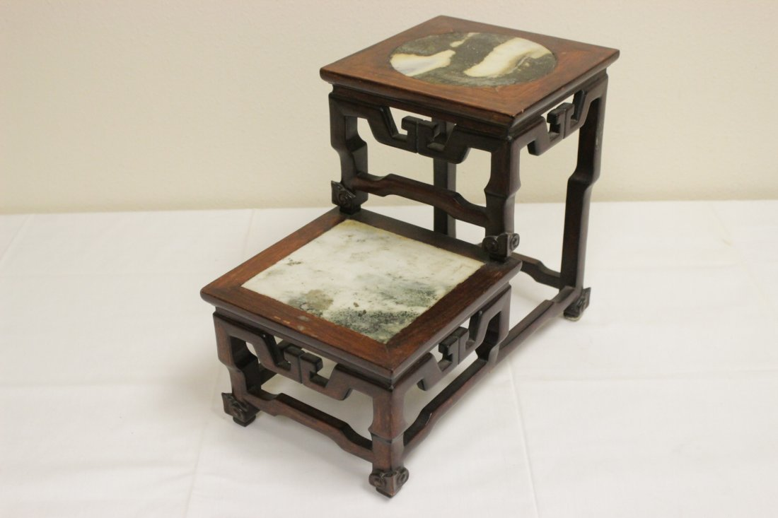 Antique Chinese rosewood pedestal stand - 2