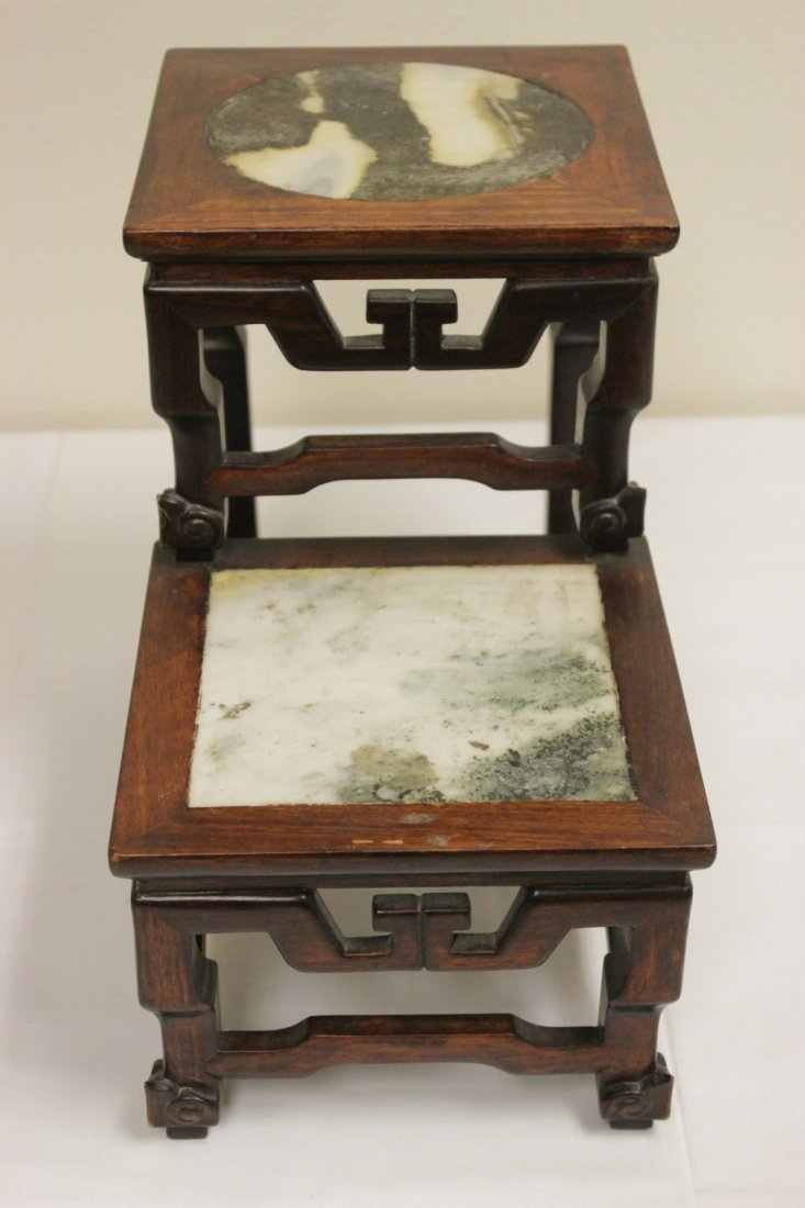 Antique Chinese rosewood pedestal stand - 3