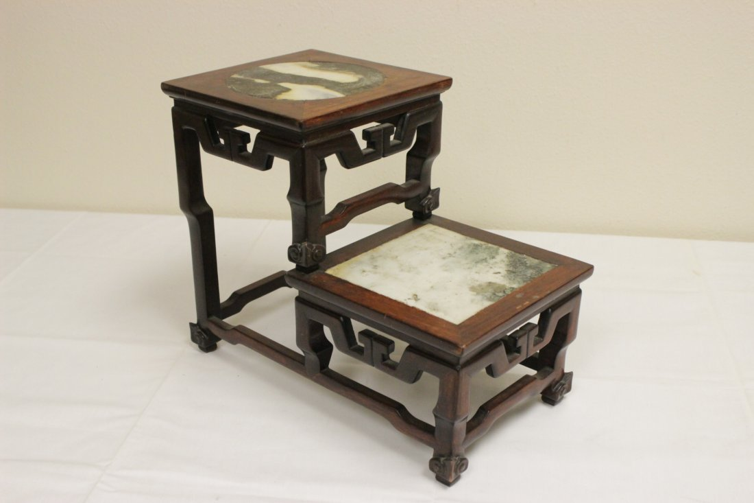 Antique Chinese rosewood pedestal stand - 4