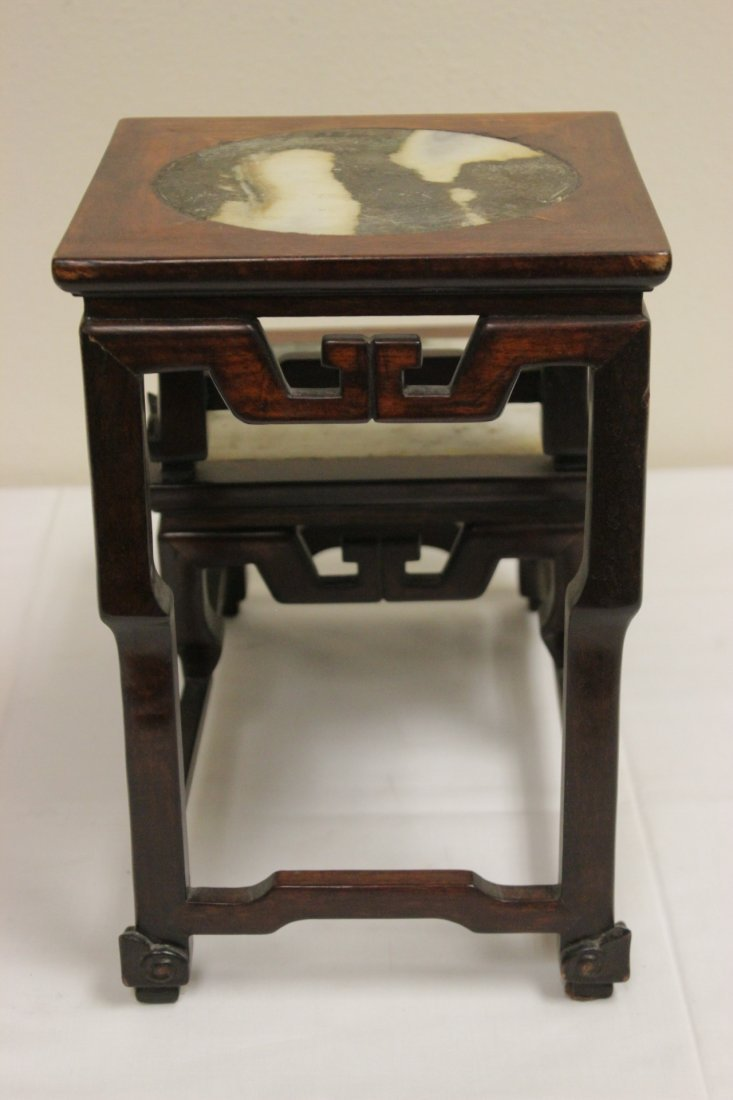 Antique Chinese rosewood pedestal stand - 6