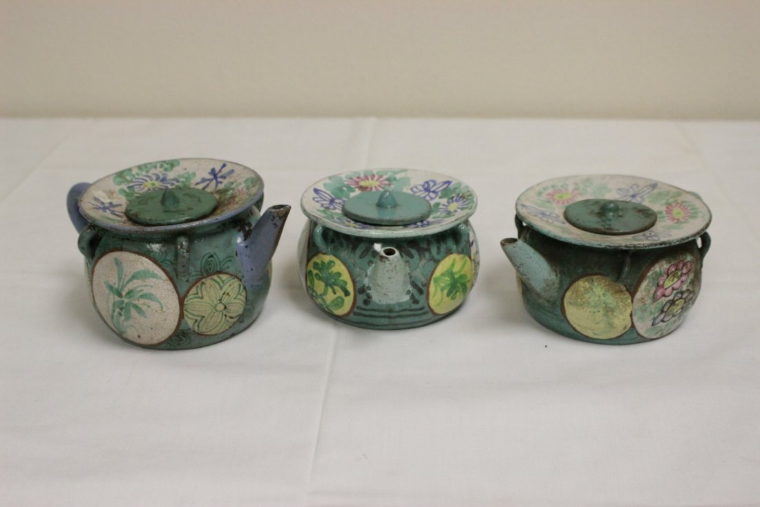 3 Chinese painted Yixing teapot