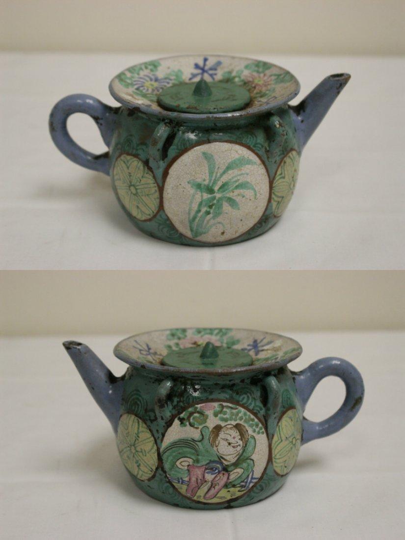 3 Chinese painted Yixing teapot - 2