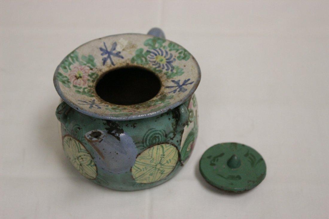 3 Chinese painted Yixing teapot - 3