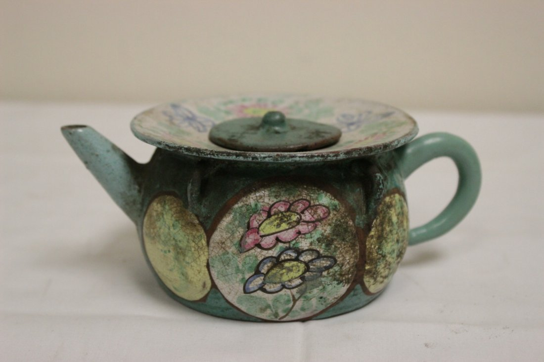 3 Chinese painted Yixing teapot - 4