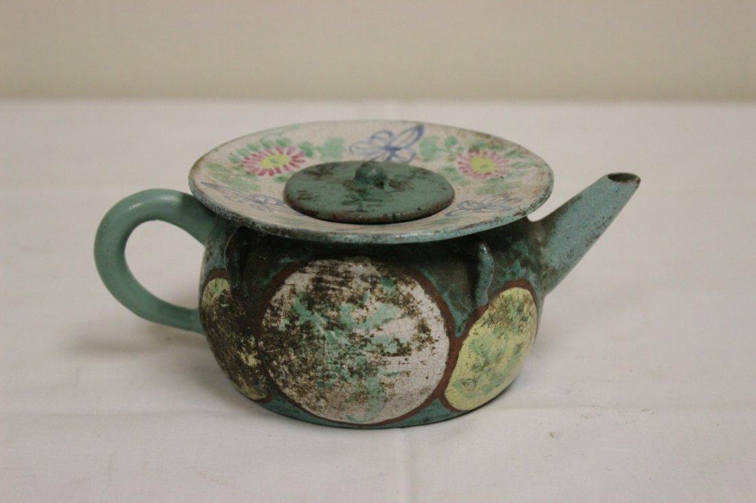 3 Chinese painted Yixing teapot - 5
