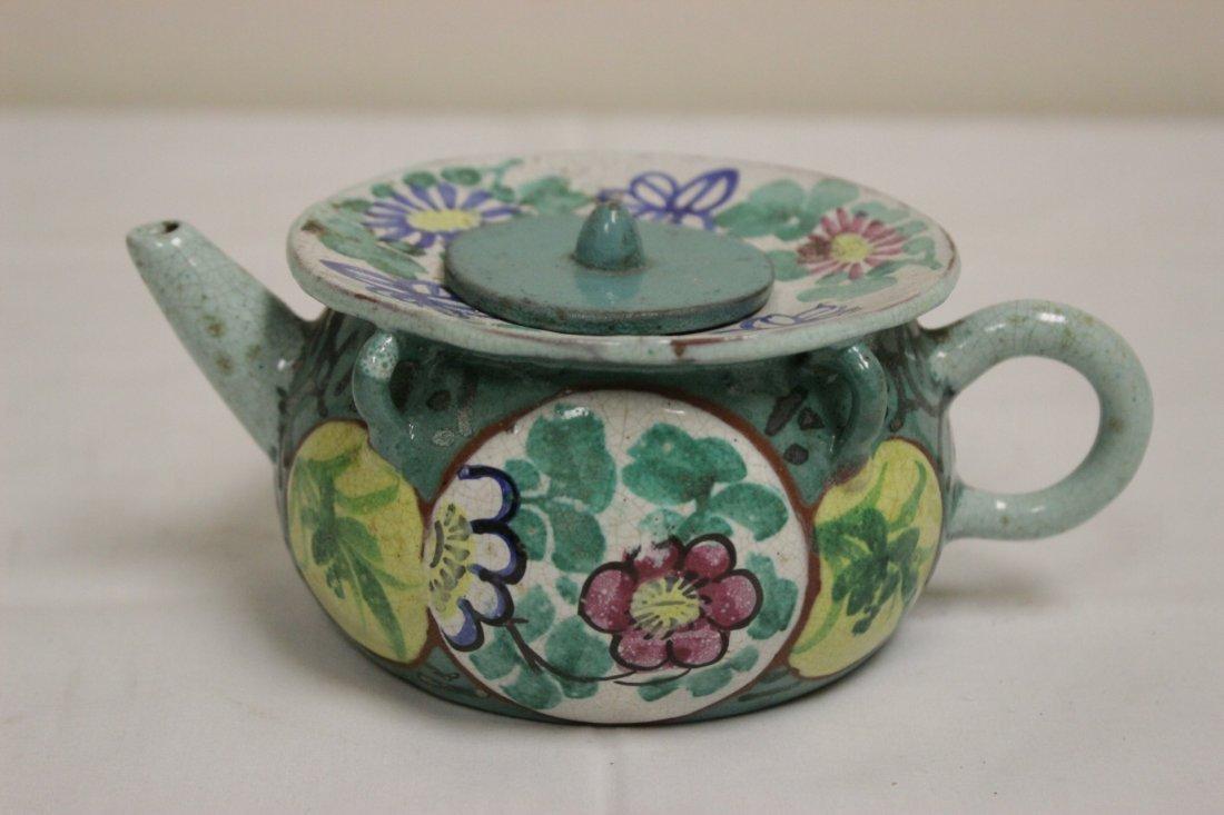 3 Chinese painted Yixing teapot - 7