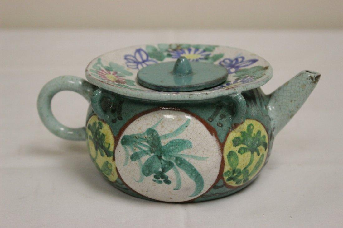 3 Chinese painted Yixing teapot - 8