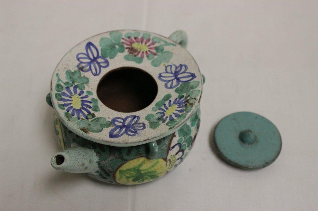 3 Chinese painted Yixing teapot - 9