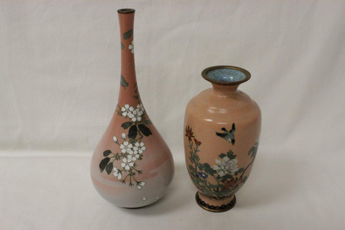 2 antique Japanese cloisonne vases