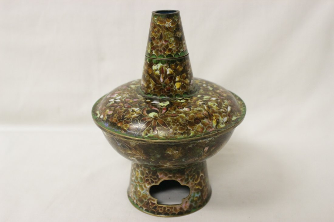 Unusual Chinese cloisonne censer