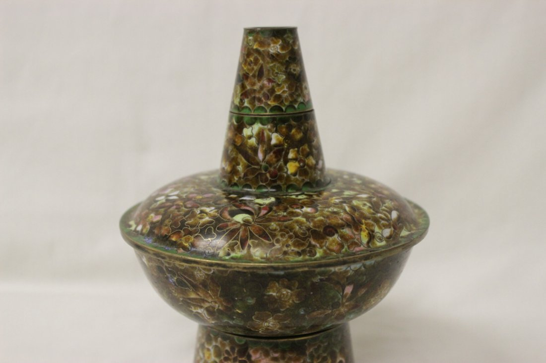 Unusual Chinese cloisonne censer - 3