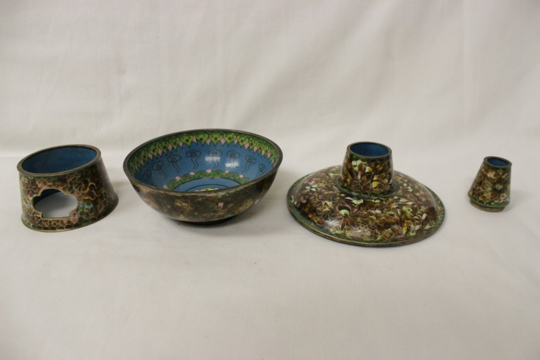 Unusual Chinese cloisonne censer - 4
