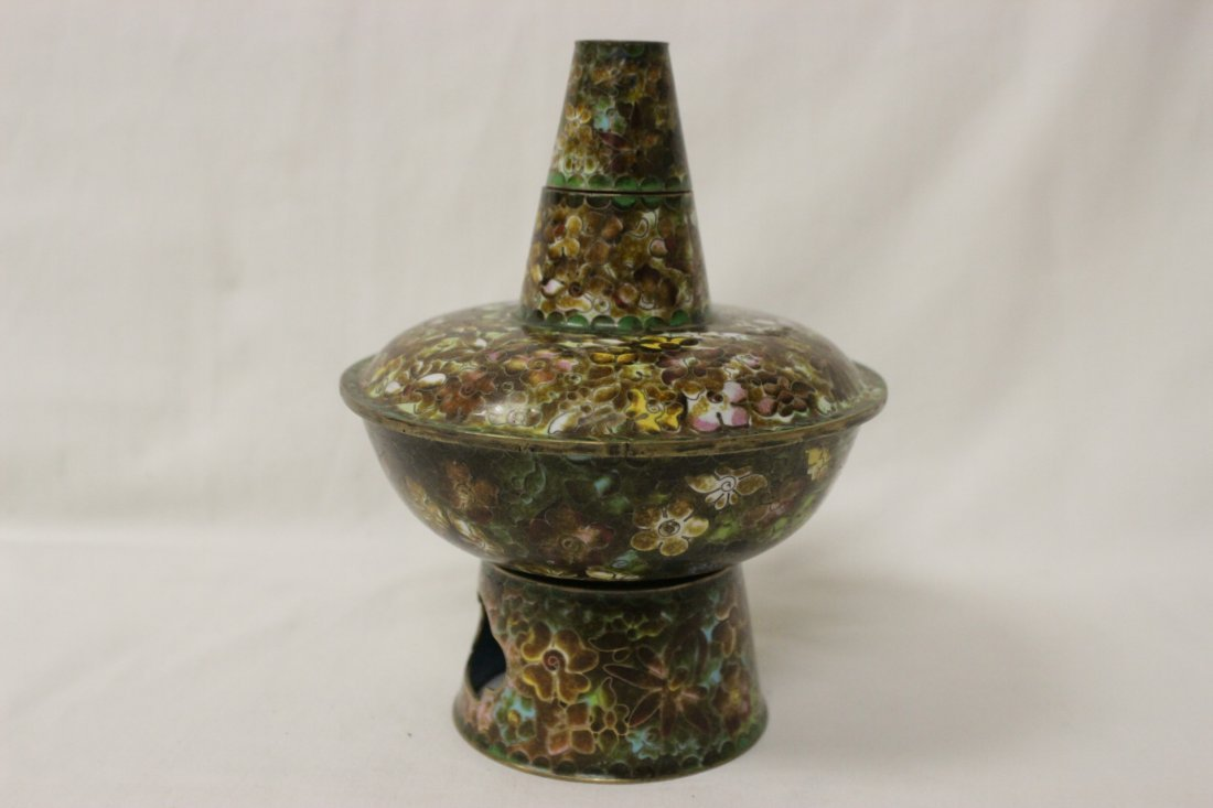 Unusual Chinese cloisonne censer - 6
