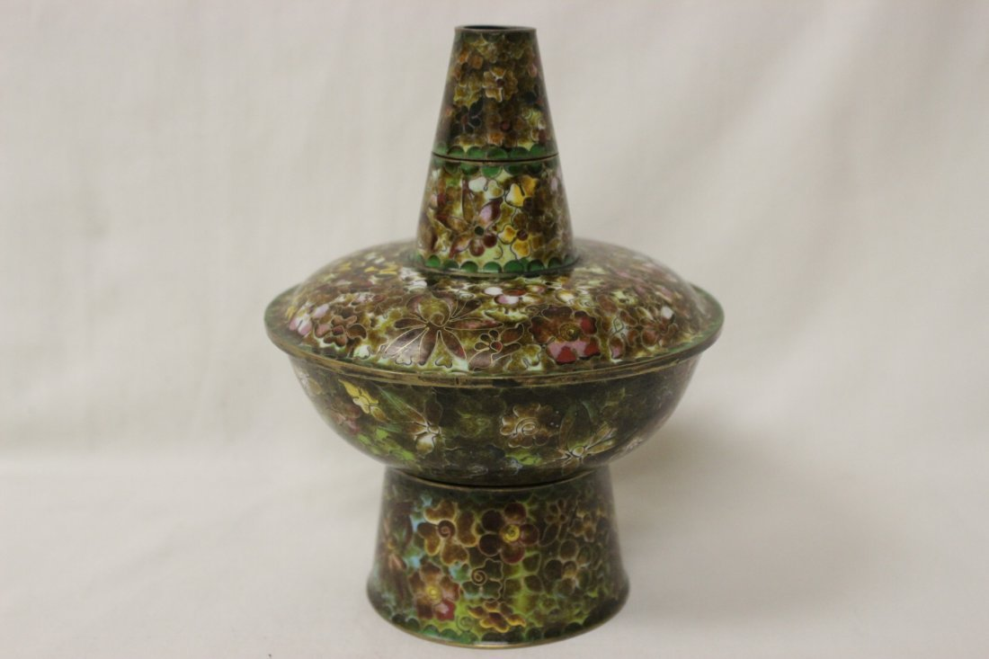Unusual Chinese cloisonne censer - 7