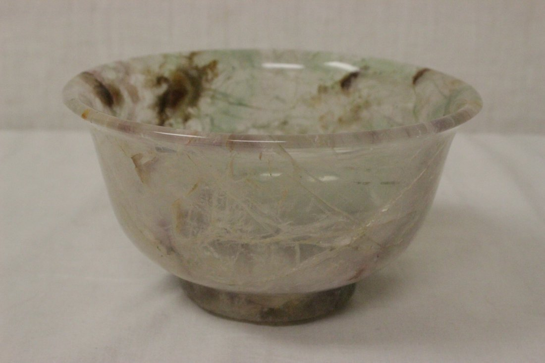 Fine Chinese rock crystal carved bowl