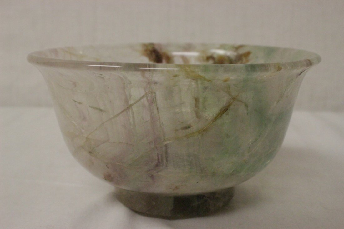 Fine Chinese rock crystal carved bowl - 3
