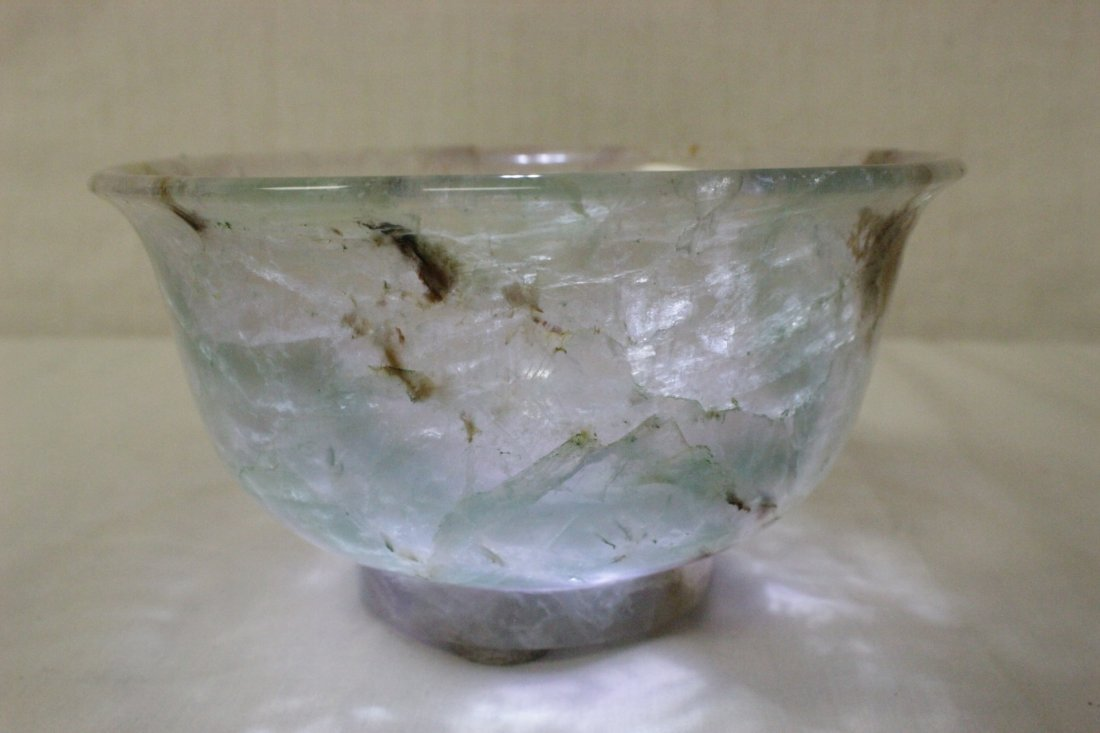 Fine Chinese rock crystal carved bowl - 9