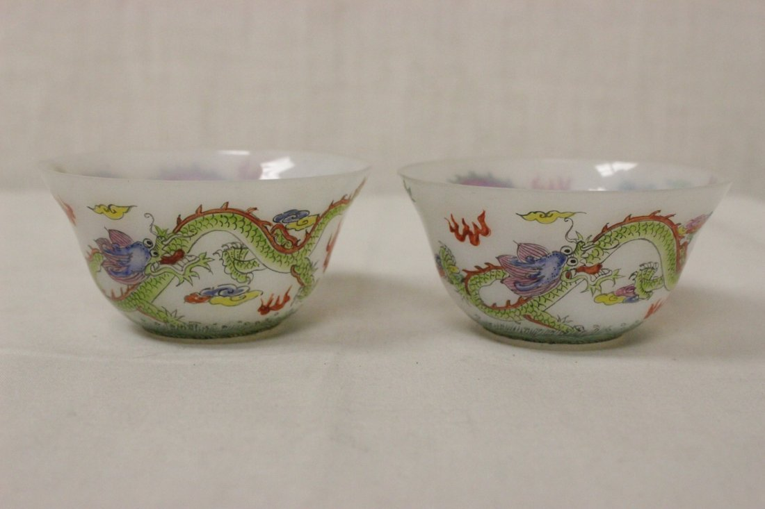 Pair fine enamel on milk Peking glass wine cups - 2
