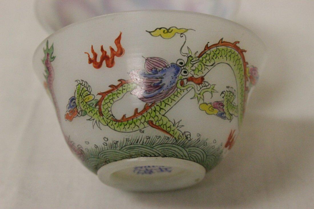 Pair fine enamel on milk Peking glass wine cups - 8