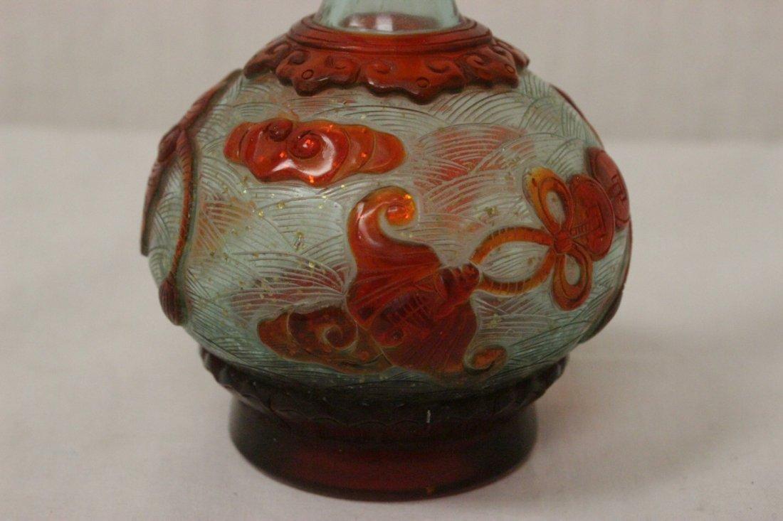 Chinese overlay Peking glass vase - 6