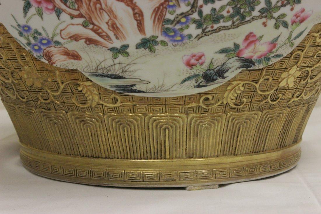 Chinese gold leaf famille rose porcelain jar - 5
