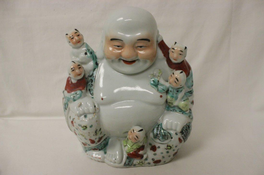 Chinese wucai porcelain seated Buddha