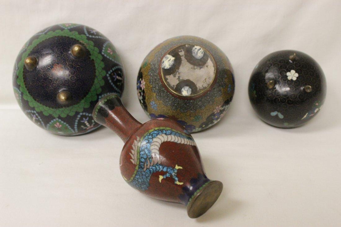 4 antique Japanese cloisonne pieces - 10