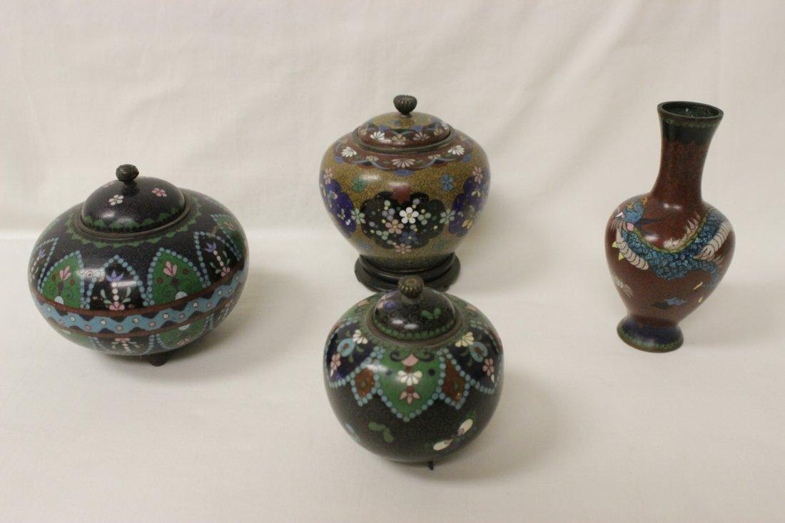4 antique Japanese cloisonne pieces