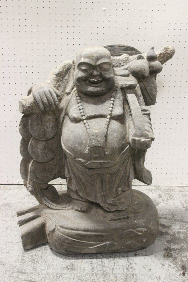 Unusual Chinese stone carved Buddha of fortune