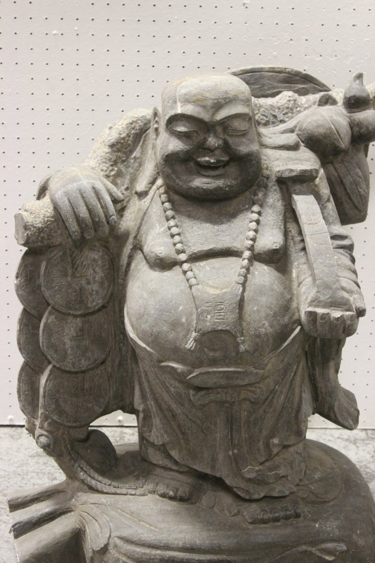 Unusual Chinese stone carved Buddha of fortune - 2