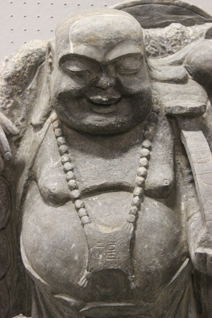 Unusual Chinese stone carved Buddha of fortune - 3