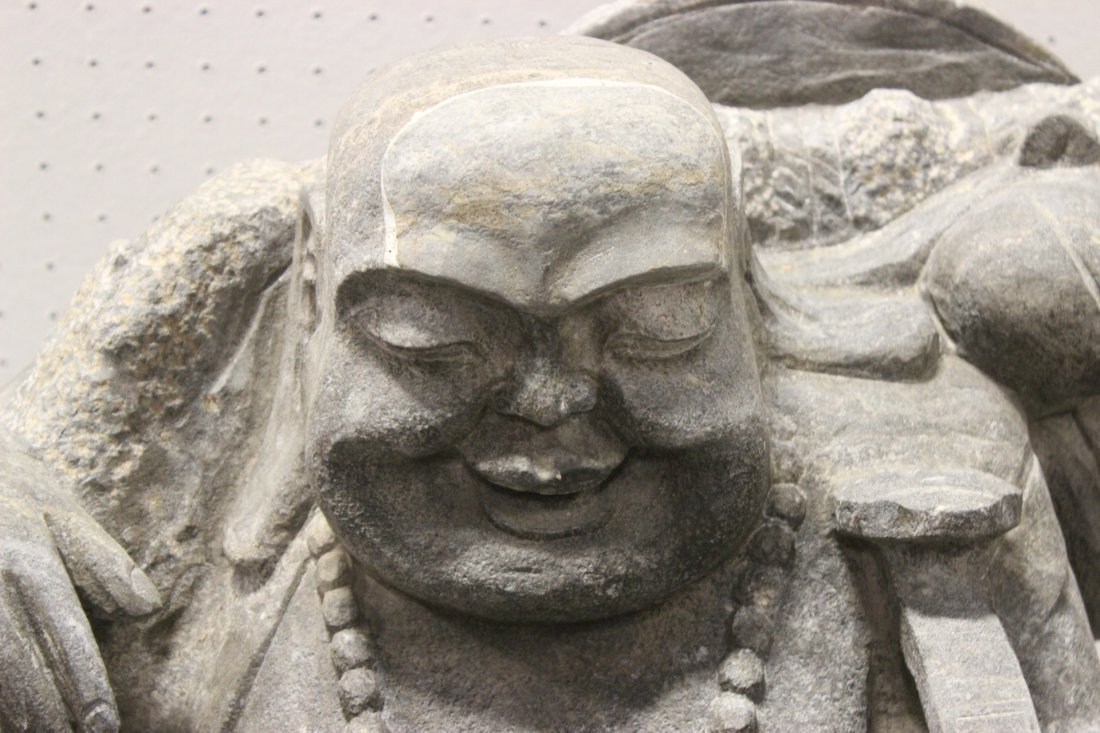 Unusual Chinese stone carved Buddha of fortune - 5