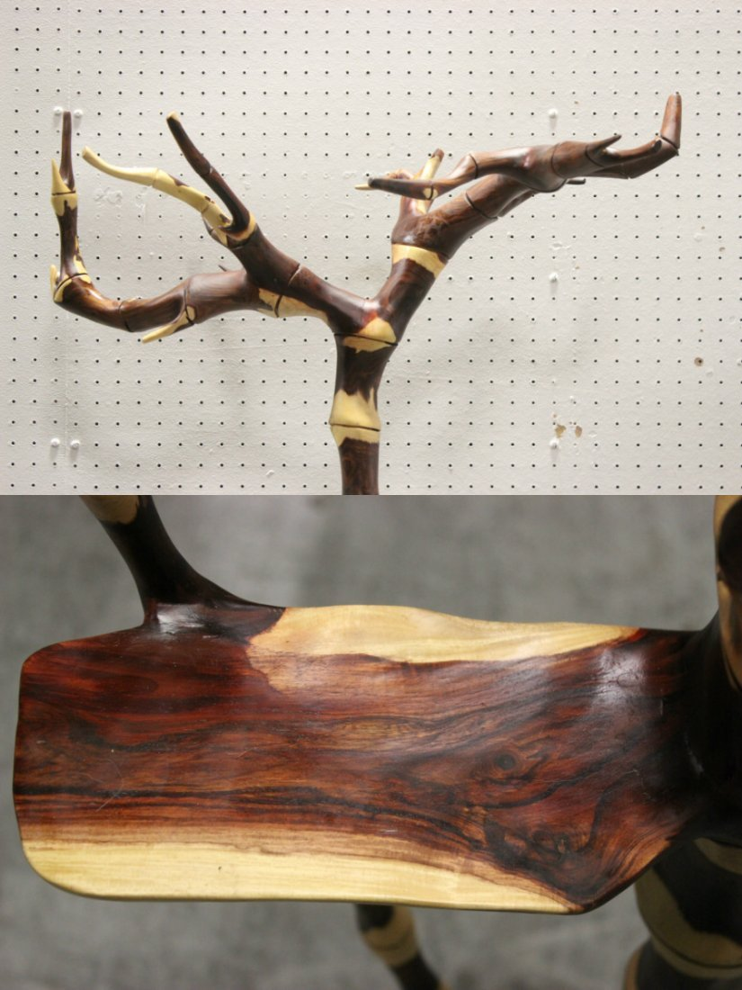 Rare Chinese natural zitan wood carved coat hanger - 6