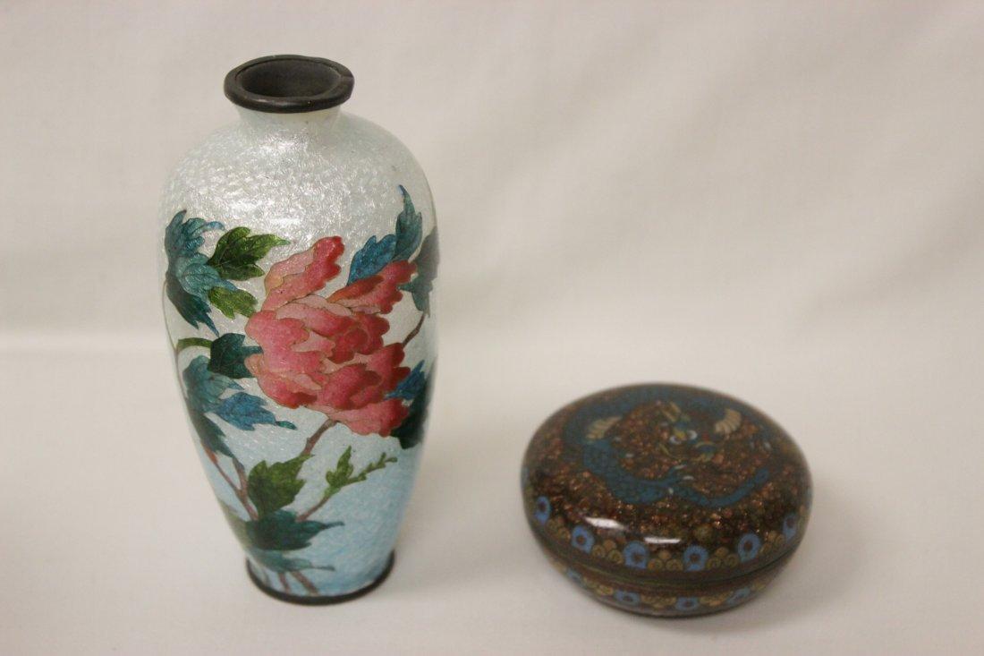 2 antique Japanese cloisonne pieces