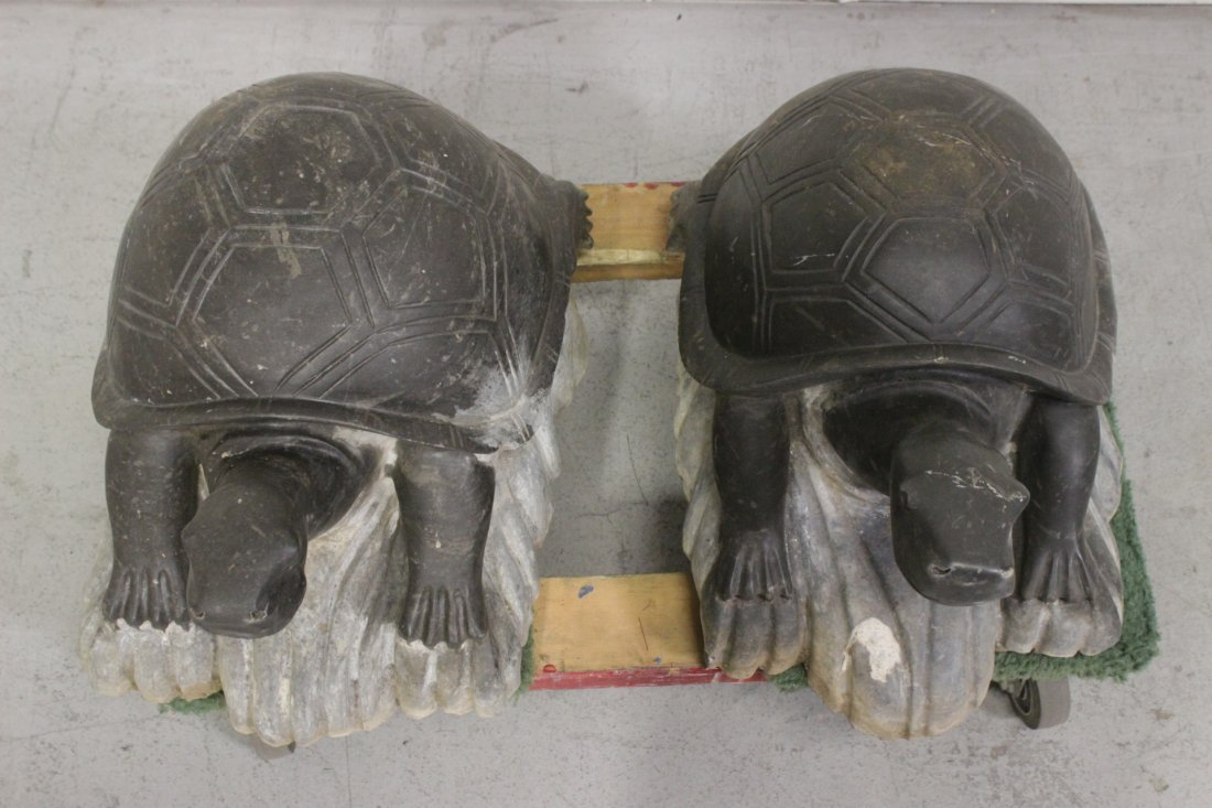 Pair Chinese stone carved garden ornament - 2