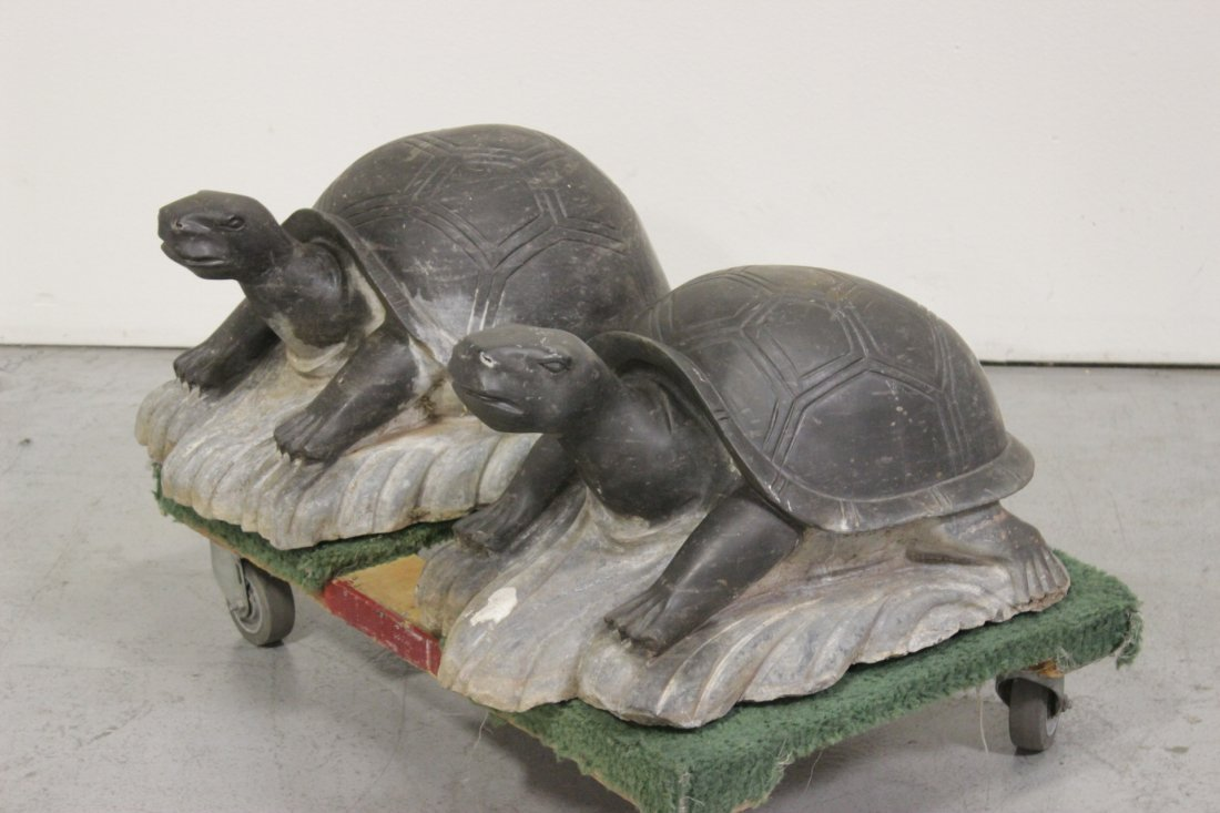 Pair Chinese stone carved garden ornament - 3