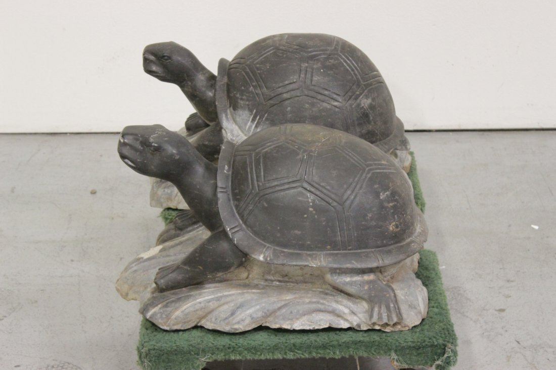 Pair Chinese stone carved garden ornament - 4