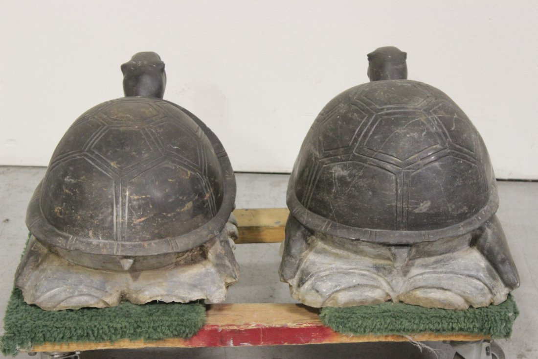 Pair Chinese stone carved garden ornament - 5