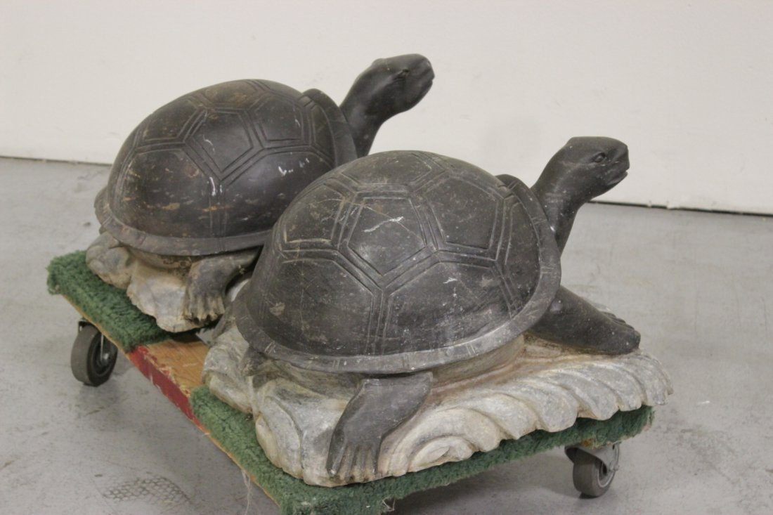 Pair Chinese stone carved garden ornament - 6