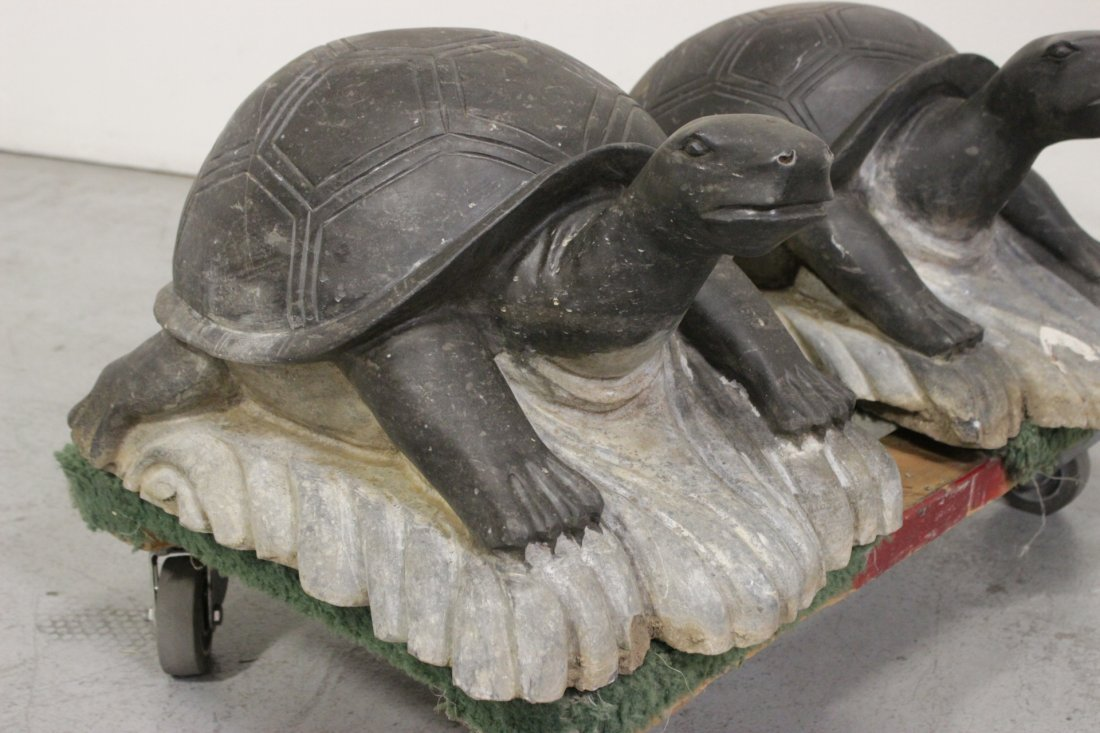 Pair Chinese stone carved garden ornament - 7