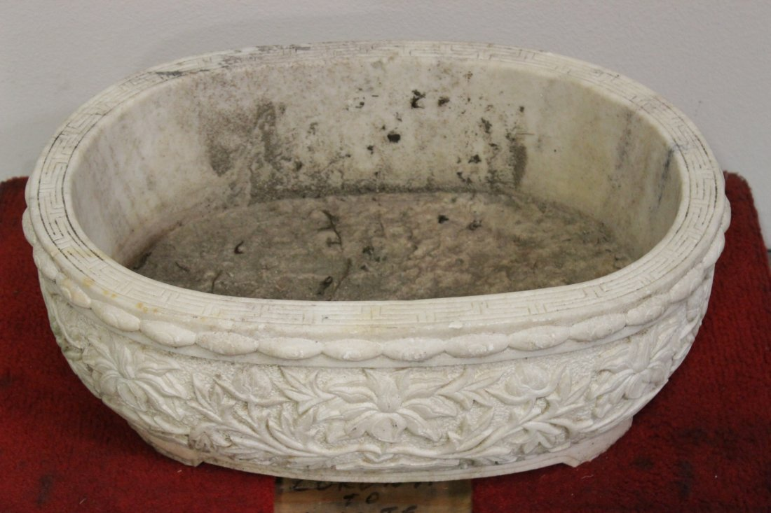 Chinese large marble carved oval planter