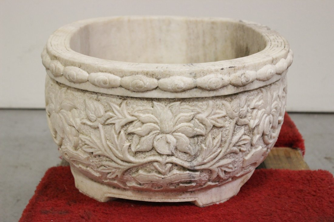 Chinese large marble carved oval planter - 6