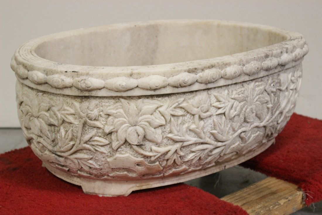 Chinese large marble carved oval planter - 7
