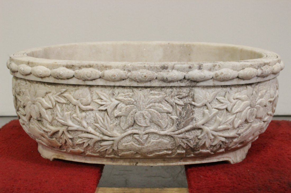 Chinese large marble carved oval planter - 8