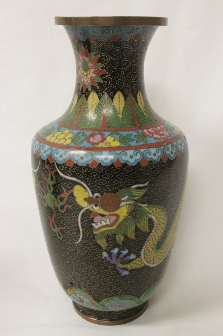 Pair Chinese cloisonne vases - 5