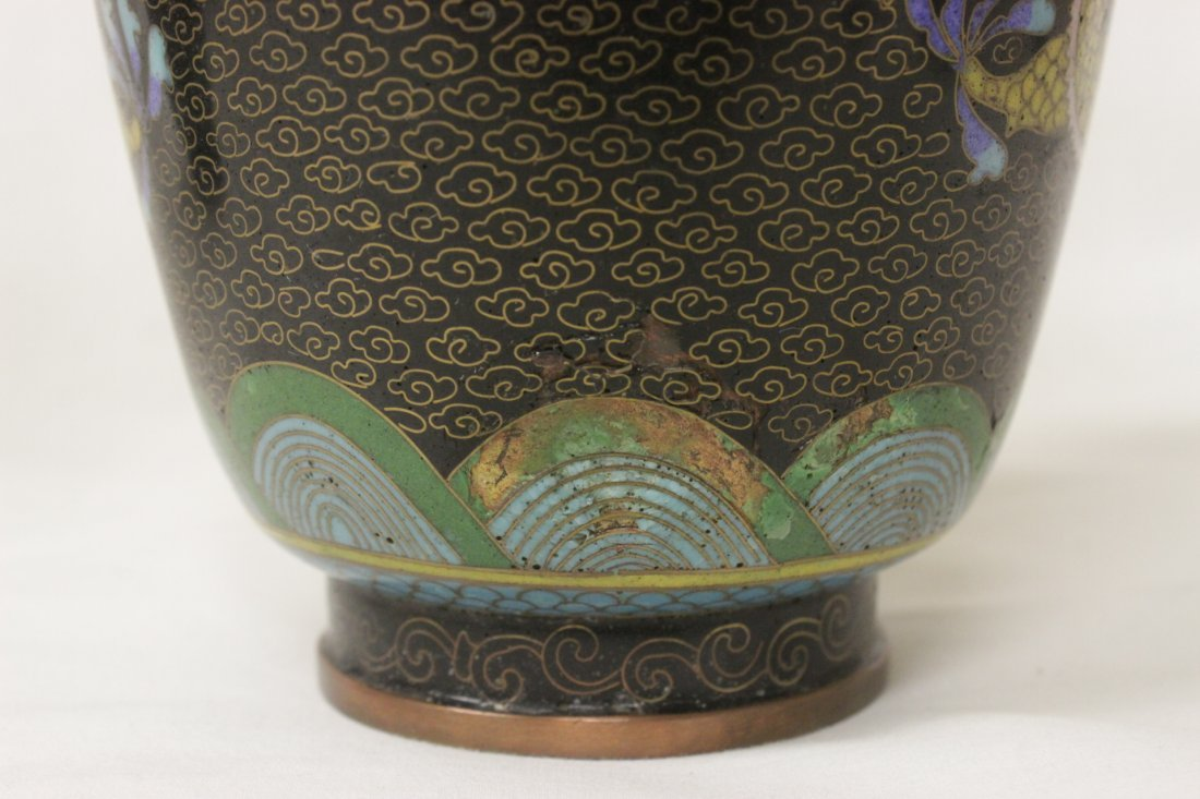 Pair Chinese cloisonne vases - 7
