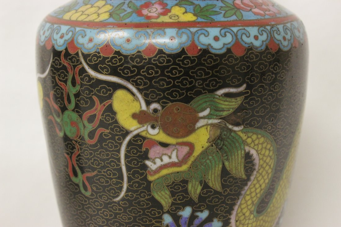 Pair Chinese cloisonne vases - 8